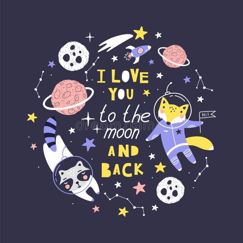 Det gulliga kortet med räven, tvättbjörnastronautet, planeter, stjärnor och komet med uttryck l älskar dig till månen och baksida stock illustrationer