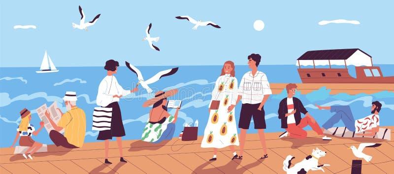 Det gulliga lyckliga folket som promenerar kajen eller sjösida och matar seagulls mot havet eller havet med, seglar fartyg på bak vektor illustrationer