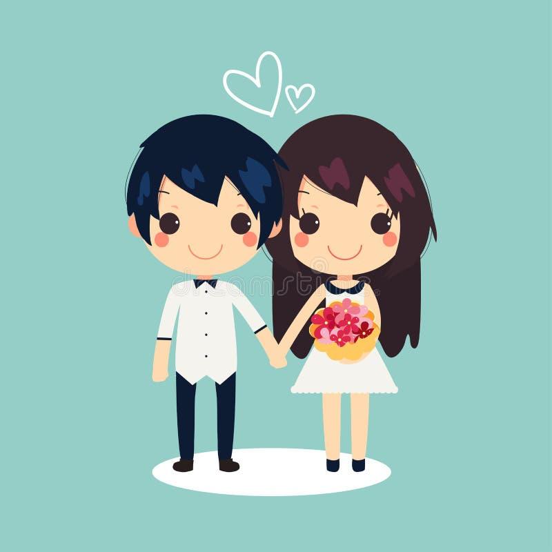 Det gulliga paret blommar hjärtavektorillustrationen royaltyfri illustrationer