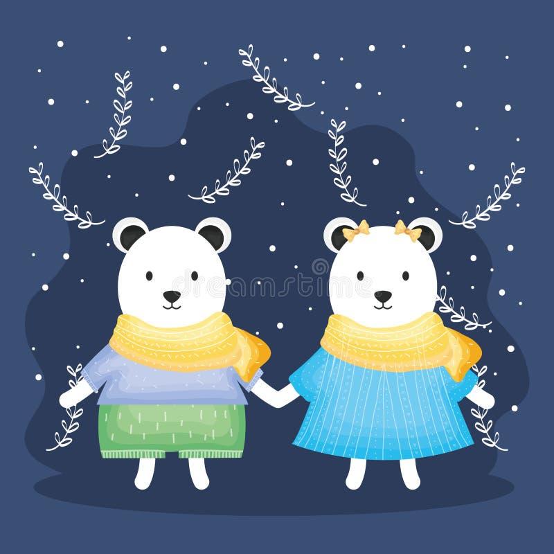 Det gulliga paret uthärdar polart med klädertecken stock illustrationer