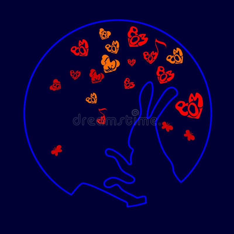 Det gulliga roliga djuret, kanin är en hare som dunkar valsvektorillustrationen av tecknade filmen som isoleras på vit bakgrund L stock illustrationer