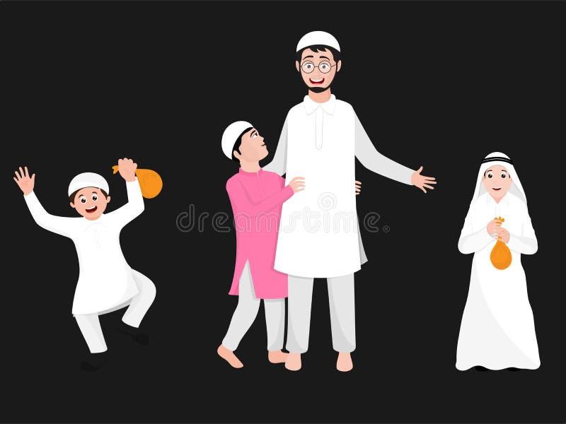 Det gulliga teckenet av en pojke i olik aktivitet poserar med hans fader stock illustrationer