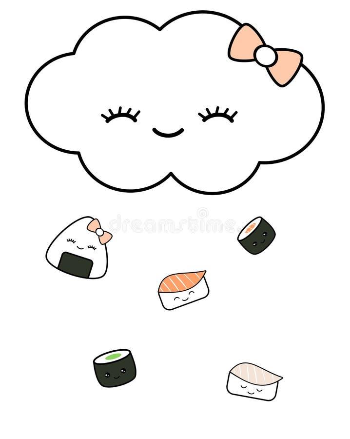 Det gulliga tecknad filmmolnet tappar den roliga begreppsillustrationen för japansk mat stock illustrationer