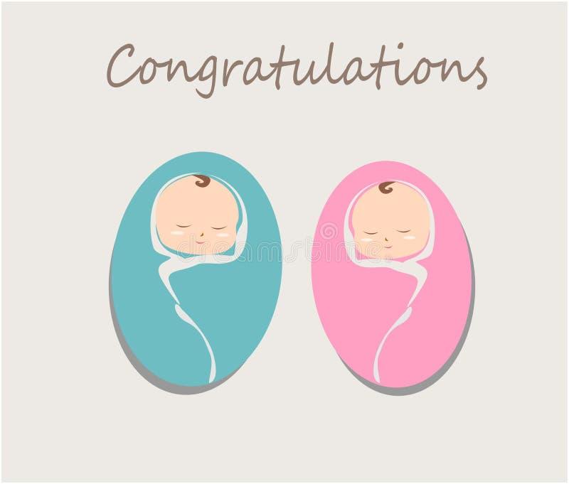 Det gulliga tvilling- nyfött behandla som ett barn vektor vektor illustrationer