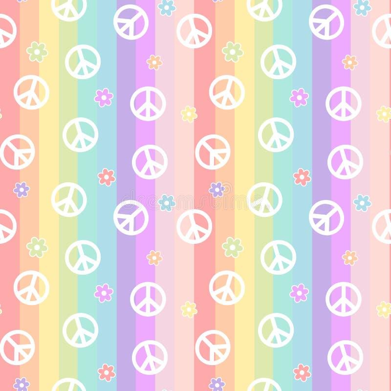 Det gulliga vita fredsymbolet med tusenskönan blommar på illustration för bakgrund för modell för färgrika band för regnbåge söml stock illustrationer
