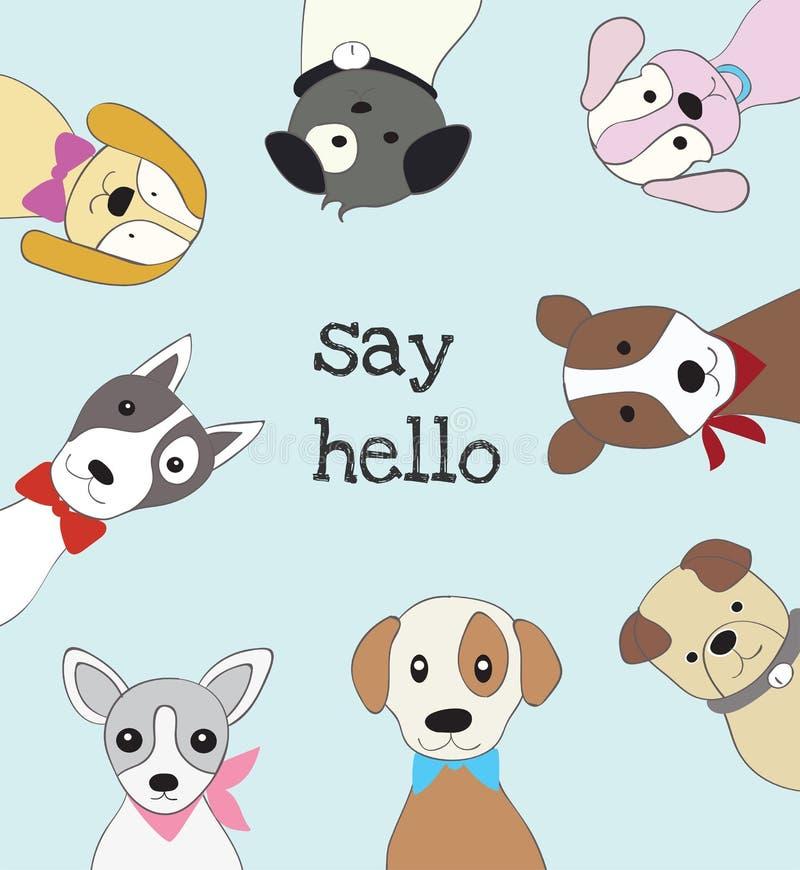 Det gulligt behandla som ett barn hunden tecknade filmen skissar djur stil royaltyfri illustrationer