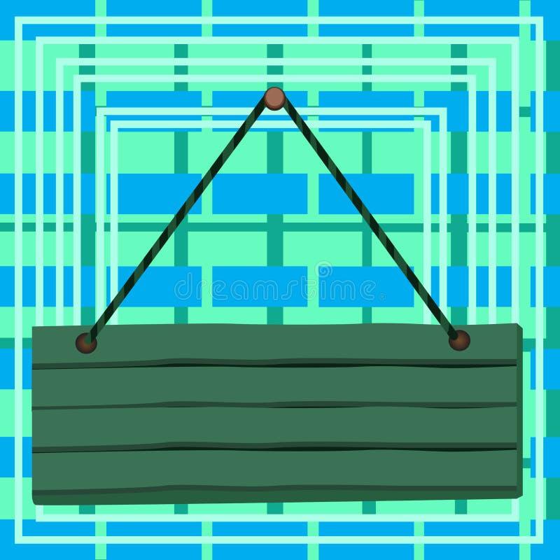 Det hängande tomma träplankabrädet som klämmas fast av, spikar med rad Rektangeln formade trätecknet som fästes på två slut på vektor illustrationer