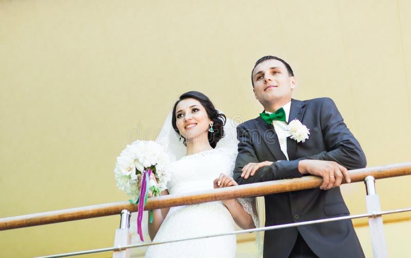 Det härliga bröllopparet tycker om att gifta sig arkivbild