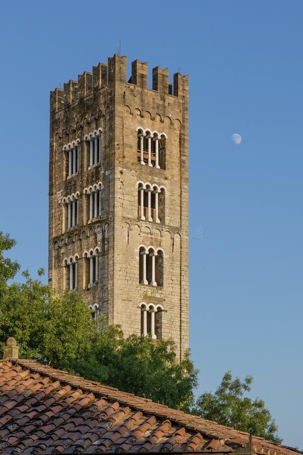 Det härliga klockatornet av basilikan av San Frediano med månen som är hög i himlen, Lucca, Tuscany, Italien royaltyfri fotografi