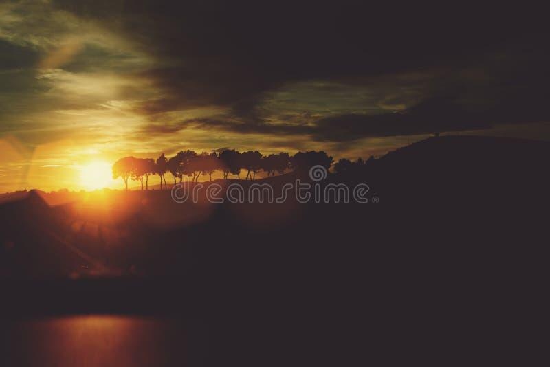 Det härliga landskapet av träd med aftonhimmel och solnedgång på bakgrund och att förbluffa moln och solen rays i bygd, arkivfoto