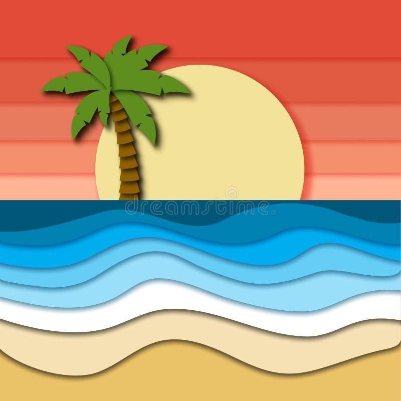 Det härliga tropiska landskapet med rosa himmel, solnedgången, plamträdet på horisont och havet eller havvågor på sand sätter på  royaltyfri illustrationer