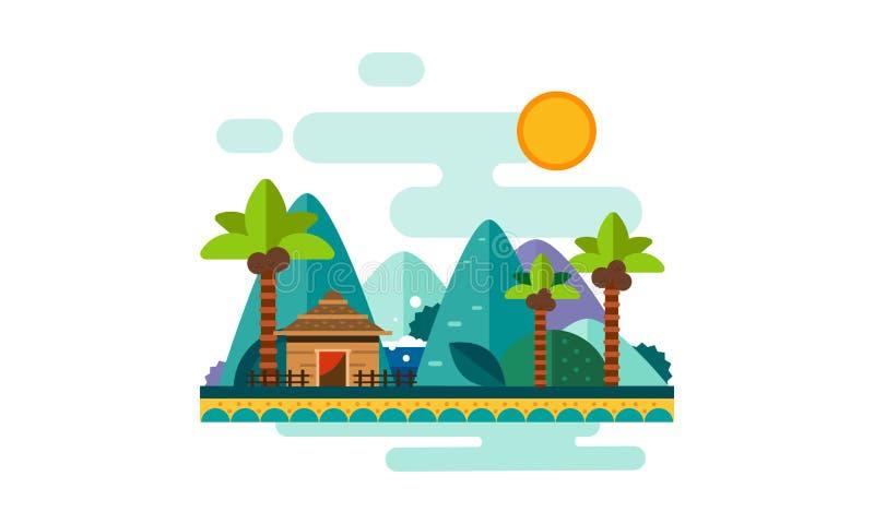 Det härliga tropiska landskapet, sandstrand med gömma i handflatan, bungalowen, berg och solvektorillustrationen stock illustrationer