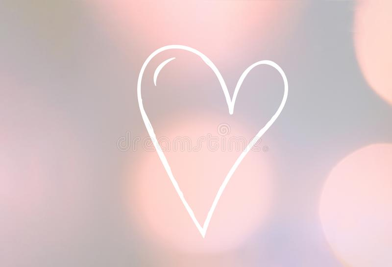 Det härliga valentinhälsningkortet med utdraget klotter för hand skissar vit hjärta på eleganta pastellfärgade flerfärgade bokehl stock illustrationer