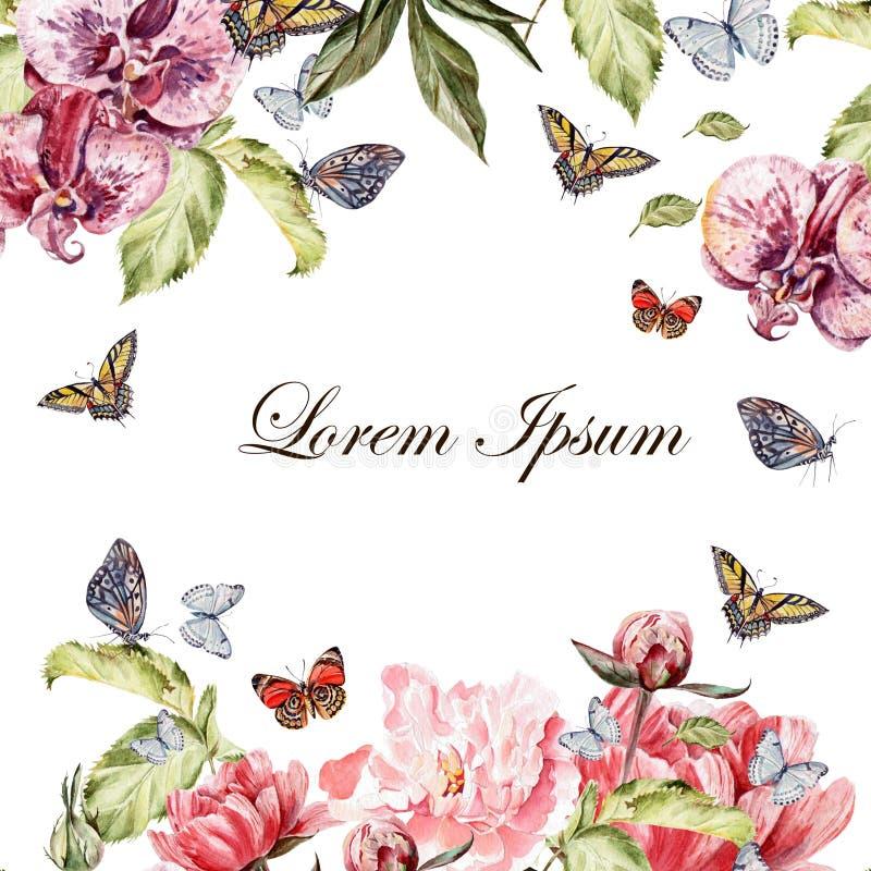 Det härliga vattenfärgkortet med pionen blommar och orkidéblomman Fjärilar och växter stock illustrationer