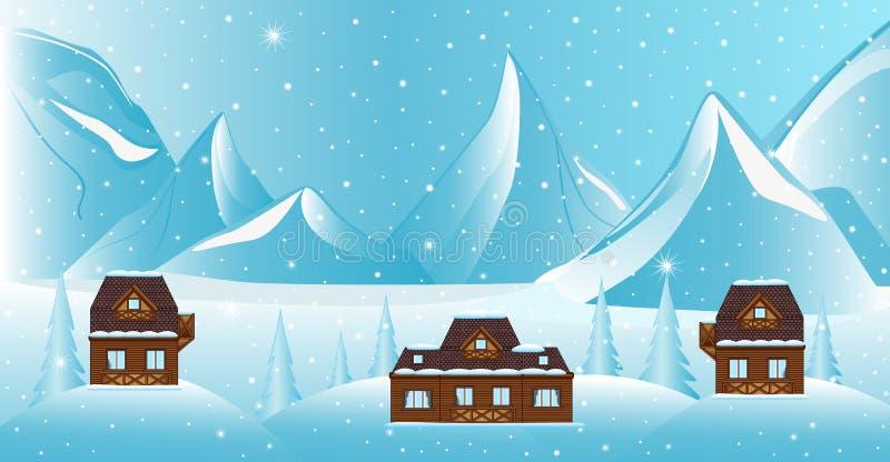 Det härliga vektorvinterlandskapet med berg, snö täckte träd, hus och stjärnklar himmel för natt stock illustrationer