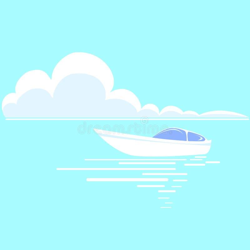 Det härliga vita fartyget på horisonten som omges av blå himmel och havet, vinkar stock illustrationer