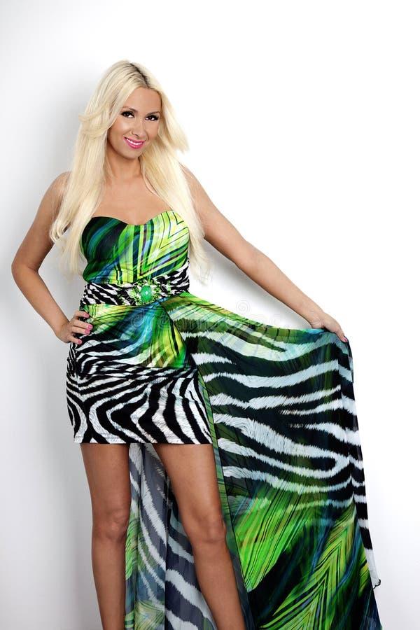 Det härligt, lyckligt blond le kvinna Mode- och skönhetskottet Modell som bär den eleganta färgrika klänningen arkivfoton