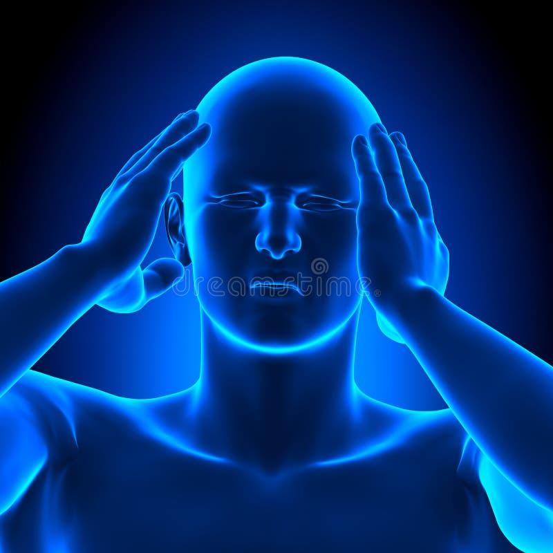 Det hållande huvudet smärtar mannen - illustrationen 3D arkivfoton
