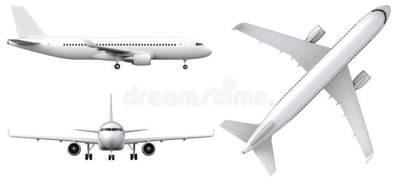 Det höga detaljerade vita flygplanet, 3d framför på en vit bakgrund Flygplan i profil, framifrån och bästa sikt som isoleras vektor illustrationer