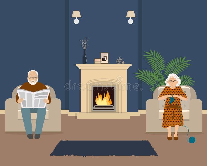 Det höga paret sitter i vardagsrummet nära spisen stock illustrationer