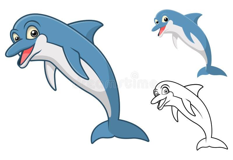 Det högkvalitativa delfintecknad filmteckenet inkluderar framlänges designen och linjen Art Version vektor illustrationer