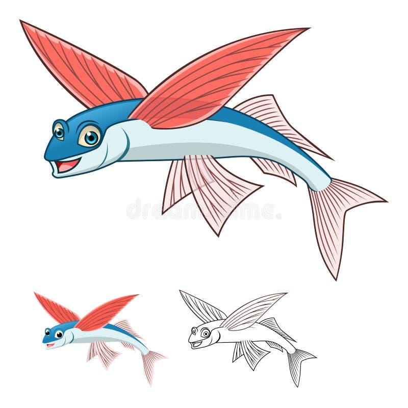 Det högkvalitativa Flyingfish tecknad filmteckenet inkluderar framlänges designen och linjen Art Version royaltyfri illustrationer