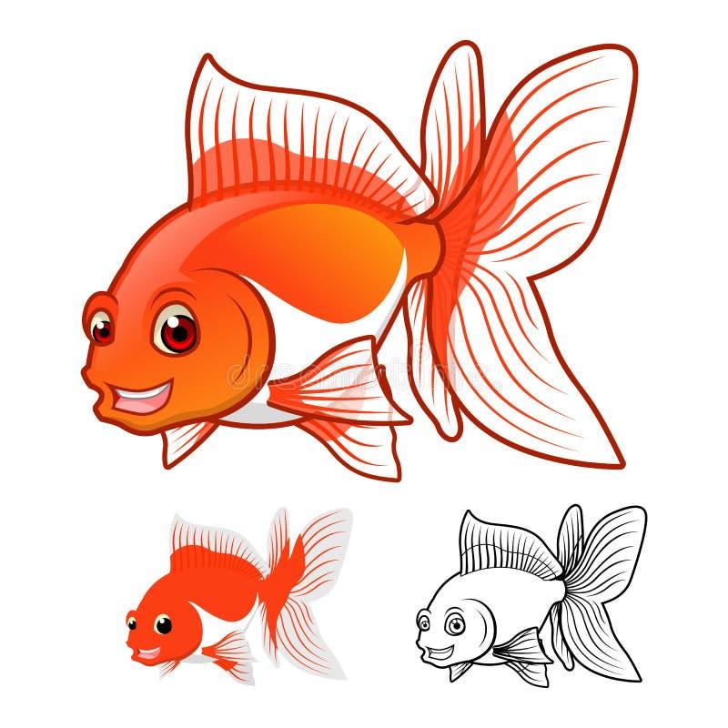 Det högkvalitativa teckenet för Fantailguldfisktecknade filmen inkluderar framlänges designen och linjen Art Version royaltyfri illustrationer