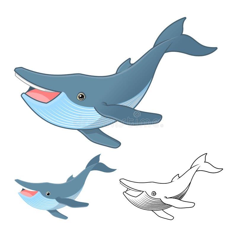 Det högkvalitativa teckenet för tecknade filmen för puckelryggvalet inkluderar framlänges designen och linjen Art Version stock illustrationer