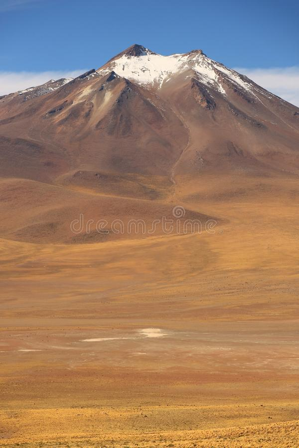 Det höglands- berget täckte med insnöat den Atacama öknen, nordliga Chile, Sydamerika arkivfoton