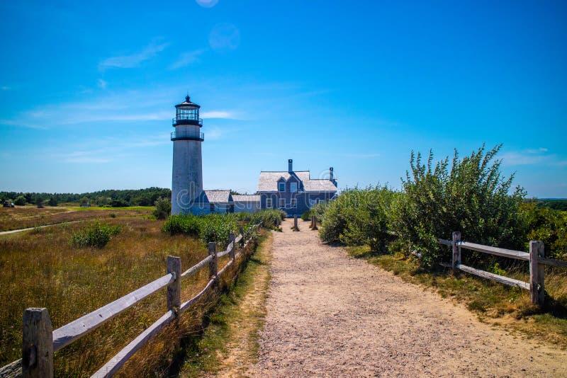Det höglands- ljuset i Cape Cod den nationella kusten, Massachusetts royaltyfri fotografi
