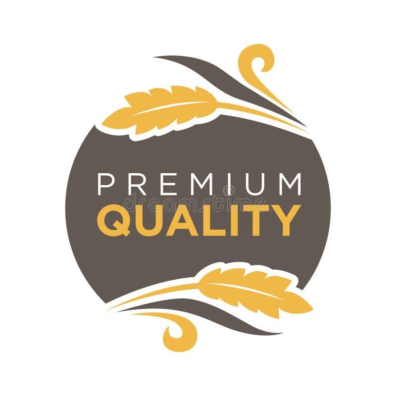 Det högvärdiga emblemet för kvalitetsrundalogoen med vete klibbar royaltyfri illustrationer