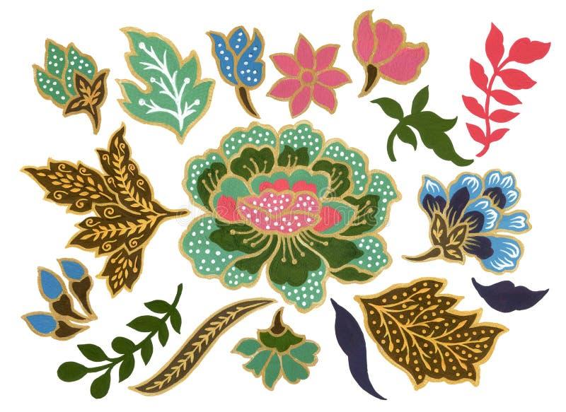 Det h?rligt av den malaysiska och indonesiska f?r Batiksarongbest?ndsdelar f?r vattenf?rg gouachen f?r blommakonst p? vit bakgrun royaltyfri illustrationer