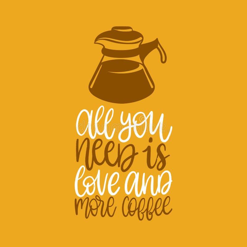 Det handskrivna uttrycket för vektorn allra är du behov förälskelse och mer kaffe Kokkärlillustration för restaurangaffischen, ka vektor illustrationer