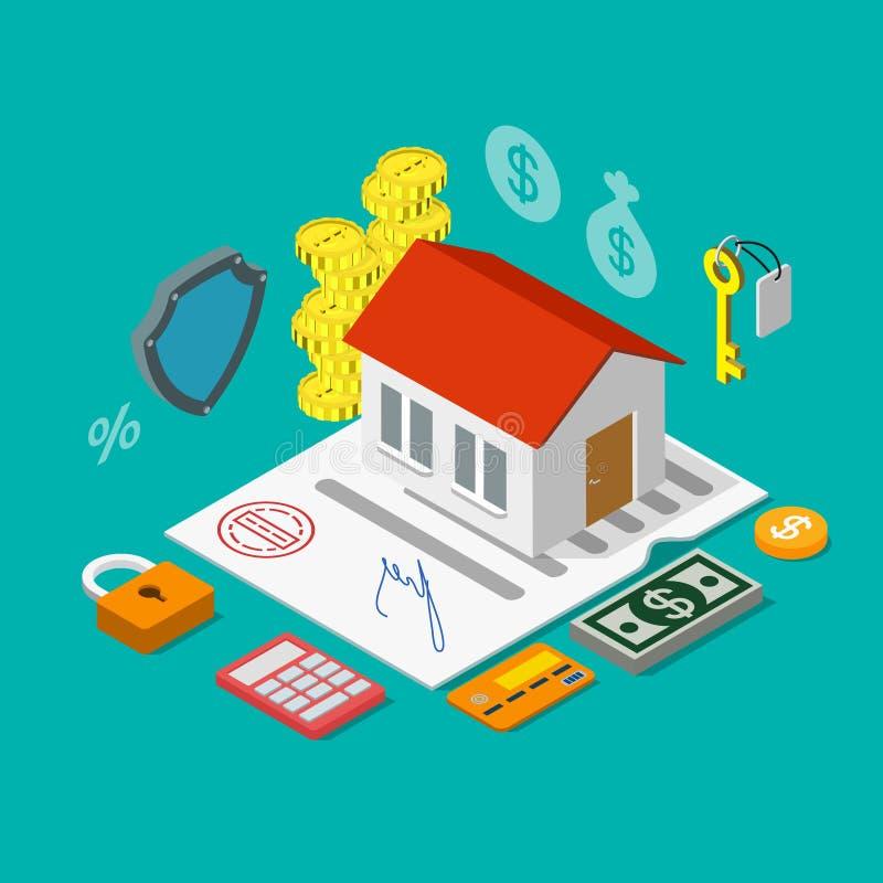 Det hem- huset intecknar den isometriska vektorn för krediteringslånlägenheten 3d vektor illustrationer
