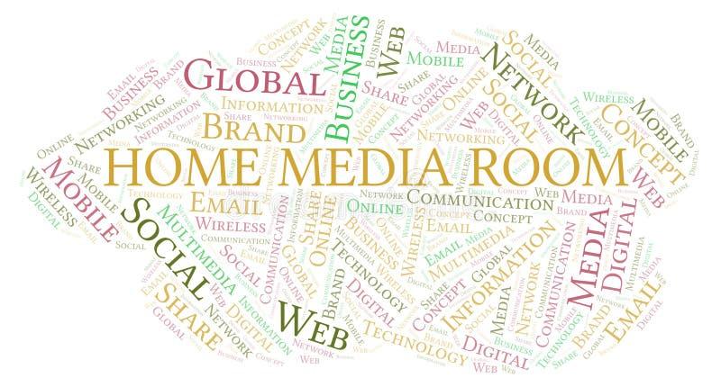 Det hem- massmedia hyr rum ordmolnet royaltyfri illustrationer