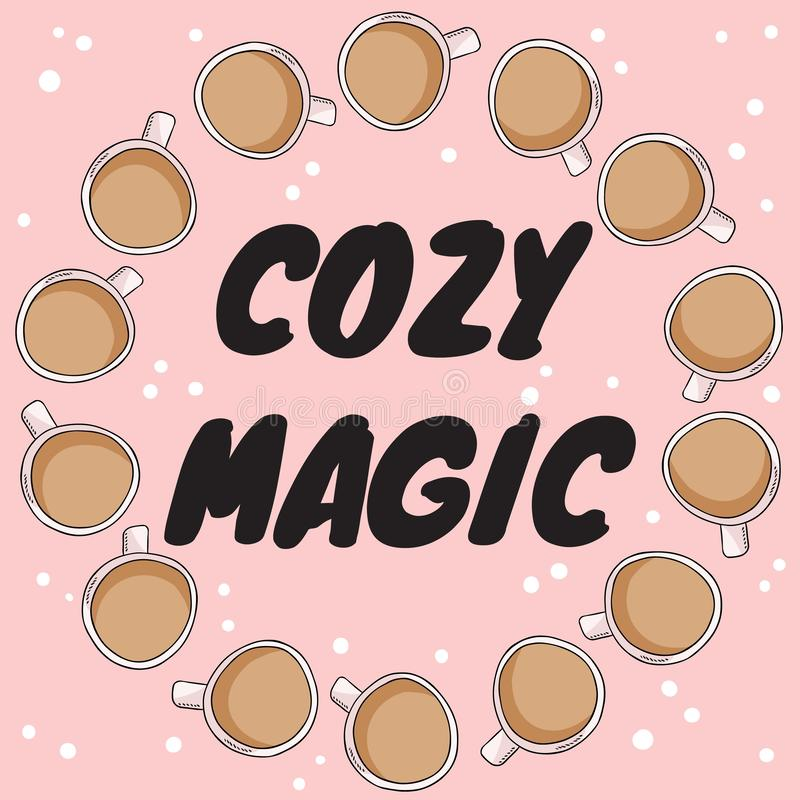 Det hemtrevliga magiska banret med kopp te eller kaffe med mjölkar För tecknad filmstil för hand utdragen vykort, gullig kranspry vektor illustrationer