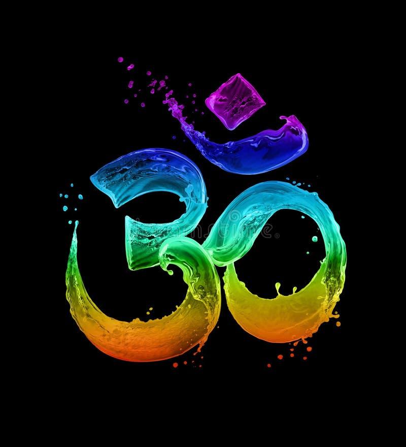 Det hinduiska tecknet Om gjorde av kulöra glödande vattenfärgstänk på svart bakgrund stock illustrationer