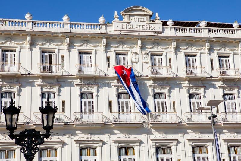 Det historiska hotellet Inglaterra nära Central Park i havannacigarren, Kuba royaltyfria foton