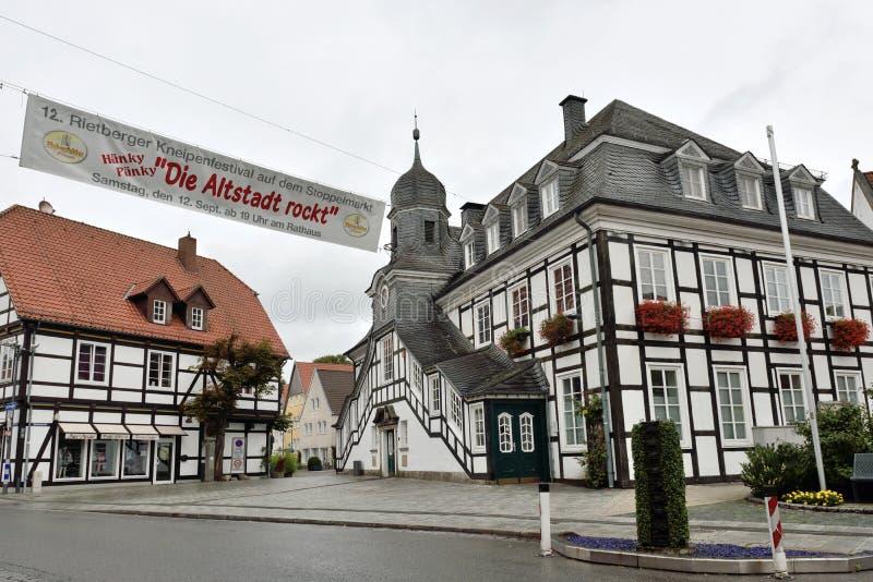 Det historiska stadshuset av Rietberg, Tyskland arkivbilder