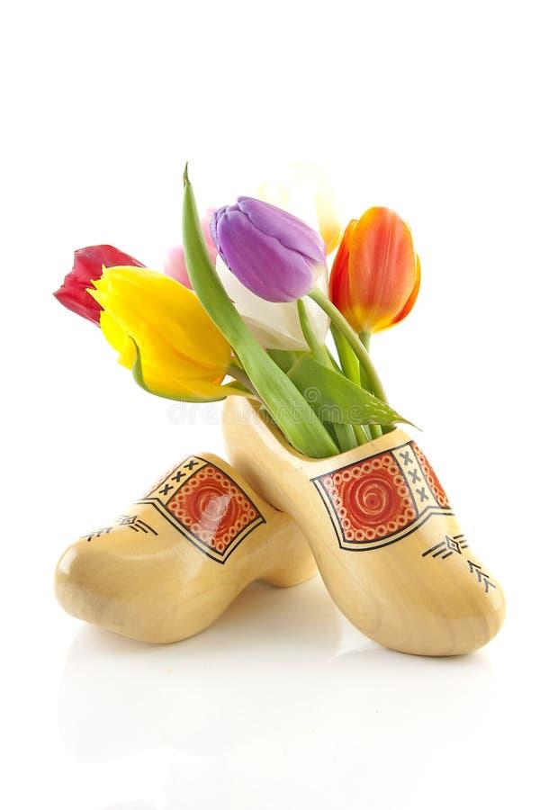 det holländska paret shoes trätraditionella tulpan arkivfoton