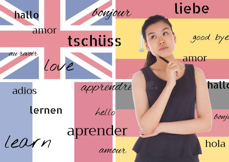 det huvudsakliga språket sjunker bakgrund med ungt tänka för kvinna och ord i olika språk royaltyfria bilder