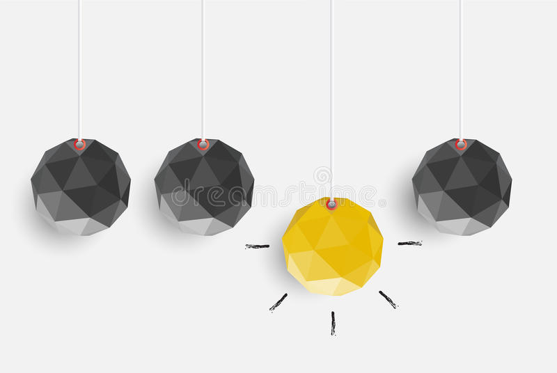 Det idérika begreppet av idén och innovation med polygonen skyler över brister för G stock illustrationer
