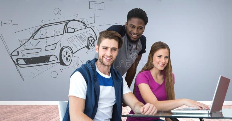 Det idérika designmötet med skissar av bilhandteckning arkivbild