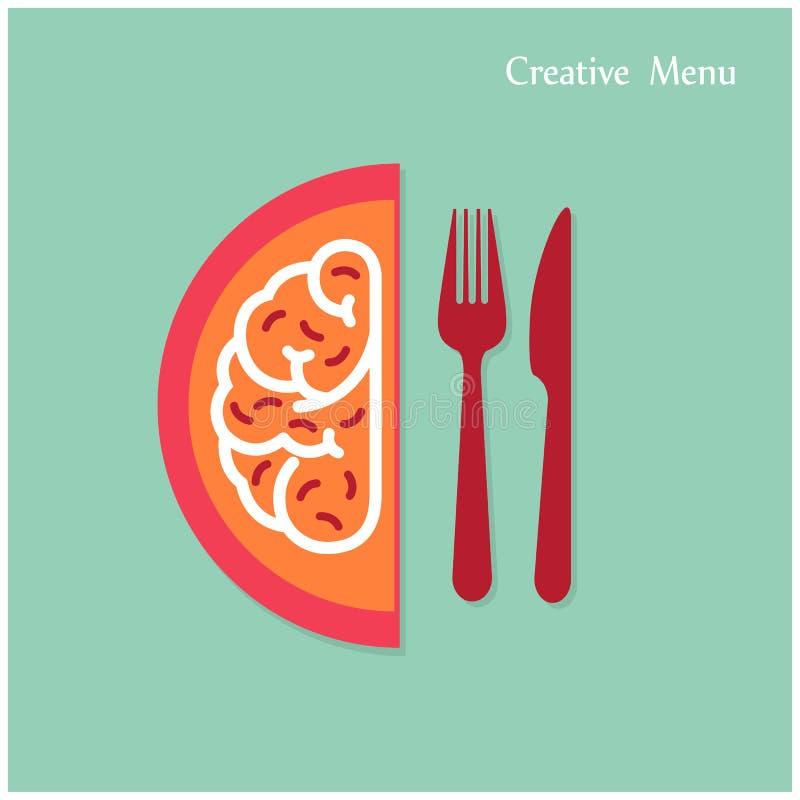 Det idérika hjärnidébegreppet med gaffeln och kniven undertecknar på backgrou vektor illustrationer