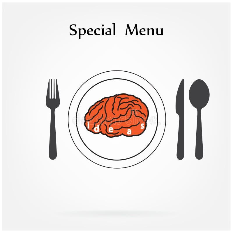 Det idérika hjärnidébegreppet med skeden, gaffeln och kniven undertecknar på lodisar royaltyfri illustrationer