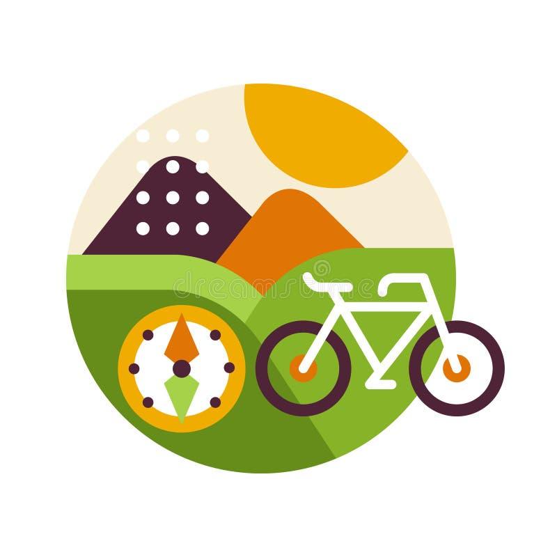 Det idérika landskapet med cykeln och kompasset i logocirkel, sommarloppet eller ferier undertecknar, designbeståndsdelen för emb stock illustrationer