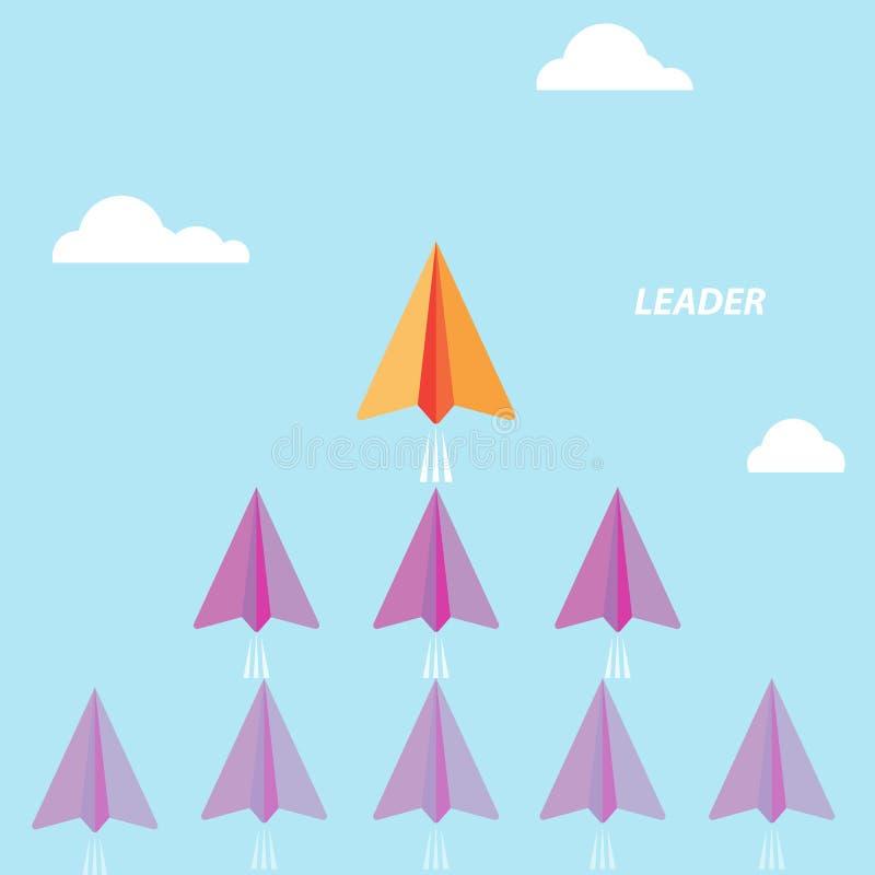 Det idérika pappers- rakettecknet och vit fördunklar på blå himmel Affär vektor illustrationer