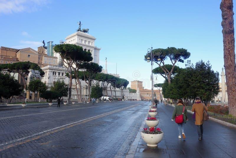 Det imperialistiskt för en gata Rome arkivbild