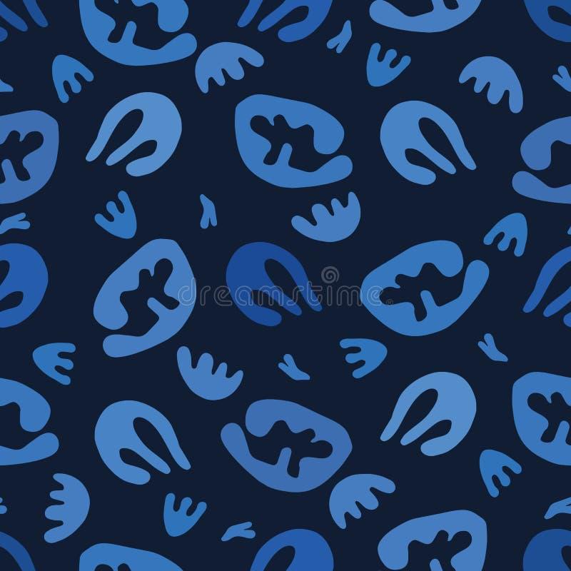 Det indigoblå blåa abstrakta organiska snittet ut formar S?ml?s bakgrund f?r vektormodell Stil f?r matisse f?r handpappersklipp royaltyfri illustrationer