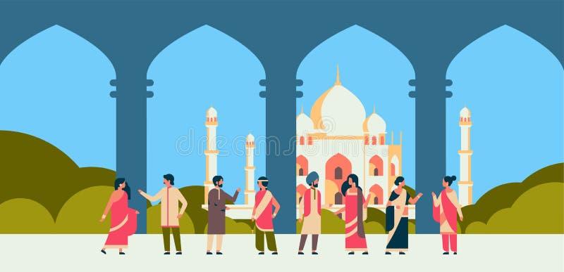 Det indiska folket grupperar bärande för mankvinnan för nationell traditionell kläder hinduisk byggnad för moskén för cityscape f royaltyfri illustrationer